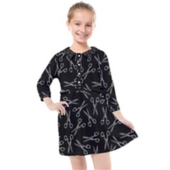 Scissors Pattern Kids  Quarter Sleeve Shirt Dress