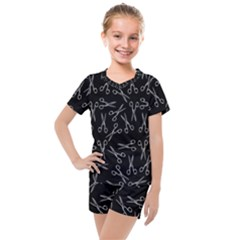 Scissors Pattern Kids  Mesh Tee And Shorts Set