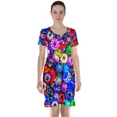 Colorful Beads Short Sleeve Nightdress