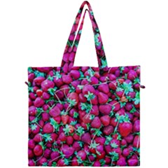 Pile Of Red Strawberries Canvas Travel Bag by FunnyCow