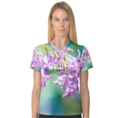Beautiful Pink Lilac Flowers V Neck Sport Mesh Tee by FunnyCow