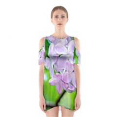 Elegant Pink Lilacs In Spring Shoulder Cutout One Piece