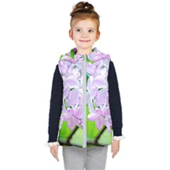 Elegant Pink Lilacs In Spring Kid s Hooded Puffer Vest by FunnyCow