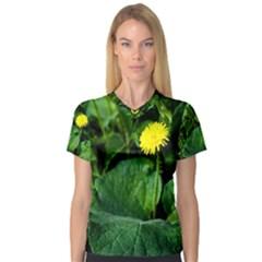 Yellow Dandelion Flowers In Spring V Neck Sport Mesh Tee