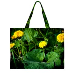 Yellow Dandelion Flowers In Spring Zipper Large Tote Bag