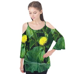 Yellow Dandelion Flowers In Spring Flutter Tees