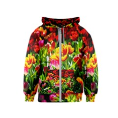 Colorful Tulips On A Sunny Day Kids  Zipper Hoodie
