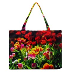 Colorful Tulips On A Sunny Day Zipper Medium Tote Bag