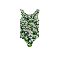 Green Field Of White Daisy Flowers Kids  Frill Swimsuit by FunnyCow