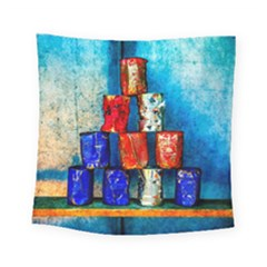 Soup Cans   After The Lunch Square Tapestry (small) by FunnyCow