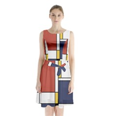 Abstract Art Of De Stijl Sleeveless Waist Tie Chiffon Dress