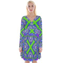 Purple Green Shapes                                           Long Sleeve Front Wrap Dress