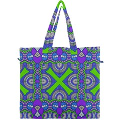Purple Green Shapes                                   Canvas Travel Bag by LalyLauraFLM