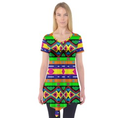 Distorted Colorful Shapes And Stripes                                    Short Sleeve Tunic