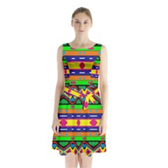 Distorted Colorful Shapes And Stripes                                             Sleeveless Waist Tie Dress