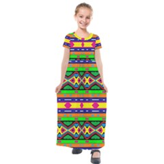 Distorted Colorful Shapes And Stripes                                       Kids  Short Sleeve Maxi Dress by LalyLauraFLM