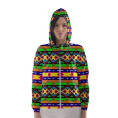 Distorted Colorful Shapes And Stripes                                         Hooded Wind Breaker (women) by LalyLauraFLM