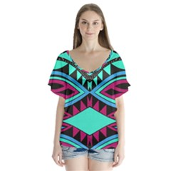 Ovals And Rhombus                                         V Neck Flutter Sleeve Top