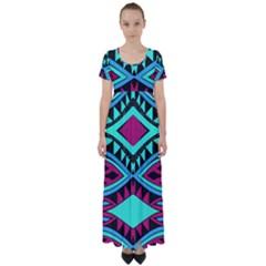 Ovals And Rhombus                                    High Waist Short Sleeve Maxi Dress