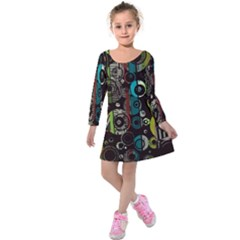 Circles Texture                                      Kids  Long Sleeve Velvet Dress by LalyLauraFLM