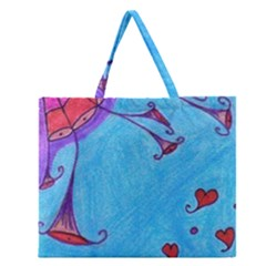 Hearts And Blue Zipper Large Tote Bag