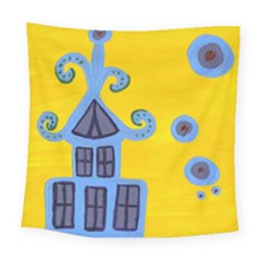 Blue House Square Tapestry (large)