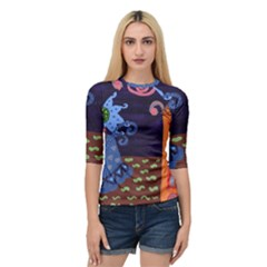 Jack In The Box Flower Quarter Sleeve Raglan Tee