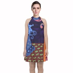 Jack In The Box Flower Velvet Halter Neckline Dress