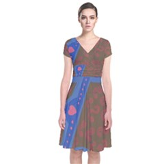 Hair Salon Floor Short Sleeve Front Wrap Dress