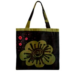 Flower Spitting Out Pink Pollen Zipper Grocery Tote Bag