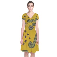 Indian Violin Short Sleeve Front Wrap Dress