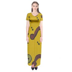 Swimming Worms Short Sleeve Maxi Dress