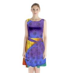 Whale And Eggs Sleeveless Waist Tie Chiffon Dress