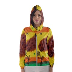 Pirana Eating Flower Hooded Windbreaker (women)