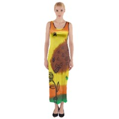 Pirana Eating Flower Fitted Maxi Dress
