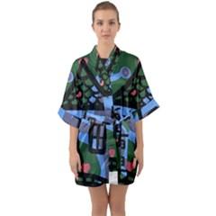 Smiling House Quarter Sleeve Kimono Robe