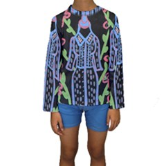 Dress And Flowers Kids  Long Sleeve Swimwear