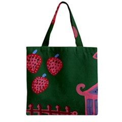 Floating Strawberries Zipper Grocery Tote Bag