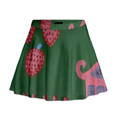 Floating Strawberries Mini Flare Skirt
