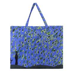 Raining Leaves Zipper Large Tote Bag