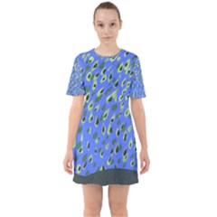 Raining Leaves Sixties Short Sleeve Mini Dress