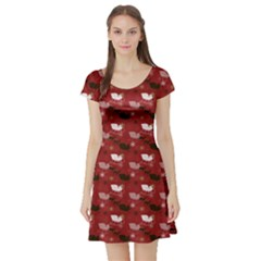 Snow Sleigh Deer Red Short Sleeve Skater Dress