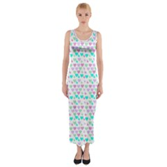 Hearts Butterflies White 1200 Fitted Maxi Dress