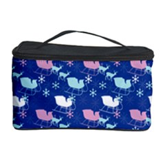 Snow Sleigh Deer Blue Cosmetic Storage Case