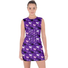 Snow Sleigh Deer Purple Lace Up Front Bodycon Dress