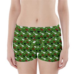 Snow Sleigh Deer Green Boyleg Bikini Wrap Bottoms