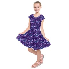 Hearts Butterflies Blue Kids  Short Sleeve Dress