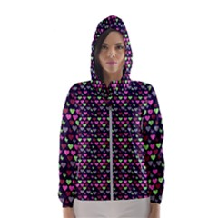 Hearts Butterflies Blue Pink Hooded Windbreaker (women)