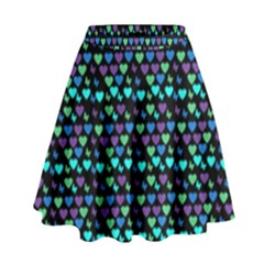 Hearts Butterflies Black High Waist Skirt