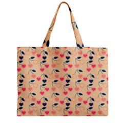 Heart Cherries Cream Medium Tote Bag